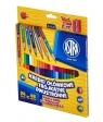 Kredki ołówkowe trójkątne, dwustronne + temperówka - 24 sztuki/48 kolorów (312116004)