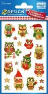Naklejki bożonarodzeniowe - sowy (52818)
