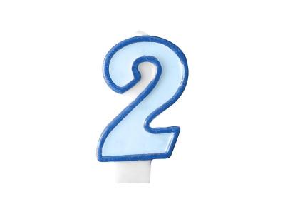 Świeczka urodzinowa Partydeco Cyferka 2 w kolorze niebieskim 7 centymetrów (SCU1-2-001)