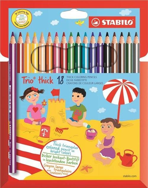 Kredki Stabilo Trio® thick grube, 18 kolorów