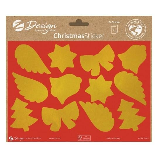 Naklejki bożonarodzeniowe - Złote symbole, błyszczące (54618)