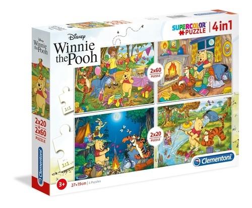 Puzzle Supercolor Kubuś Puchatek 4w1  2x20 + 2x60