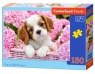 Puzzle 180: Pup in Pink Flowers (018185)