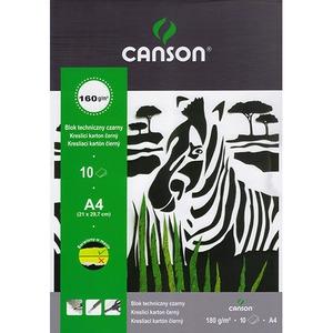 Blok techniczny Canson A4 czarny 10 160 g