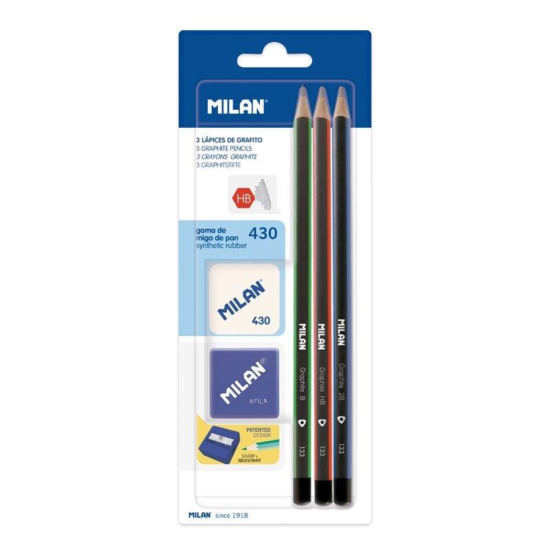 Ołówki trójkątne 3szt. - HB, B, 2B MILAN + gumka 430 + temperówka Afila (BYM10290)