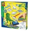 Dinozaury Zestaw pieczątek z kredkami