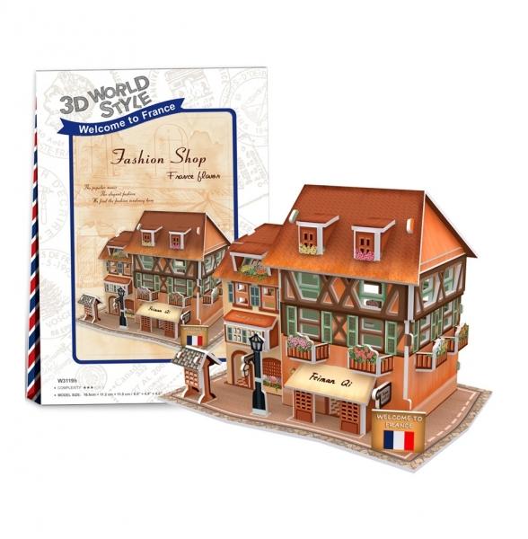 Puzzle 3D: Domki świata - Francja, Fashion Shop (306-23119)