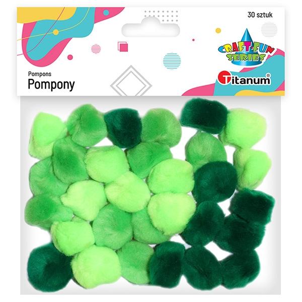 Pompony akrylowe, 30 szt. - tonacja zielona (283065)