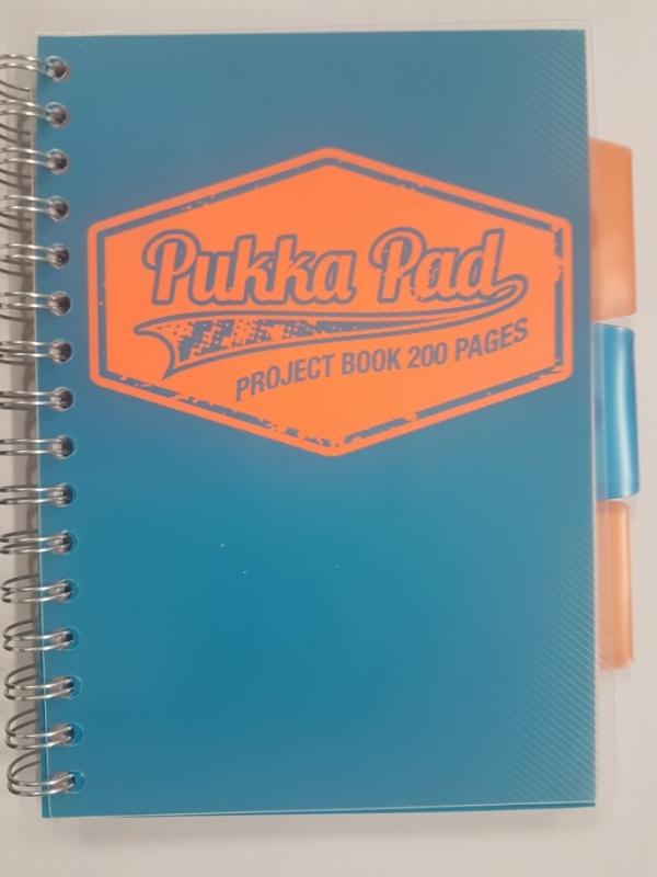 Kołozeszyt Pukka Pad Project Book Neon a5 200k kratka niebieski
