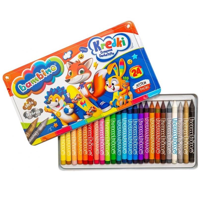 Kredki Bambino w pudełku metalowym, 24 kolory