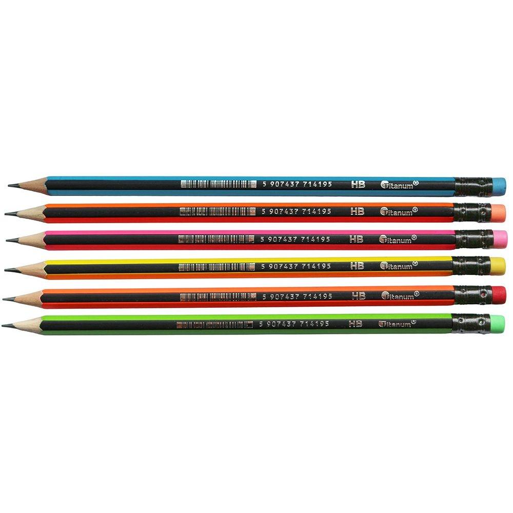 Ołówki Titanum z gumką HB, 6 szt. - Neon (394416)