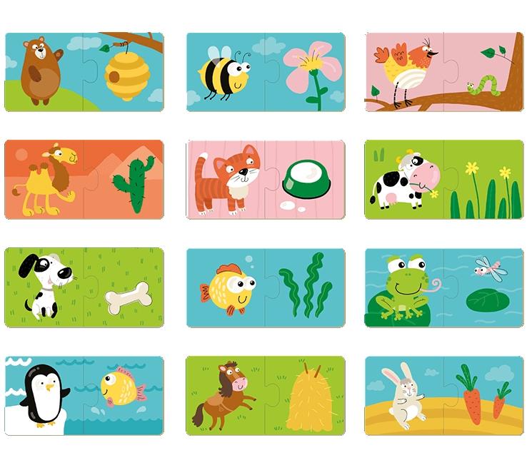 Puzzle 12x2: Co jedzą zwierzęta? (DOP300118)