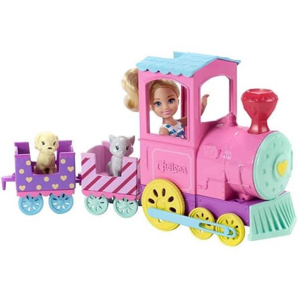 Lalka Barbie Chelsea + pociąg ze zwierzakami (FRL86). od 3 lat