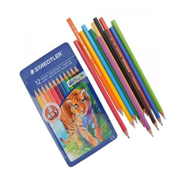 Kredki ołówkowe, 12 kolorów, metalowe pudełko