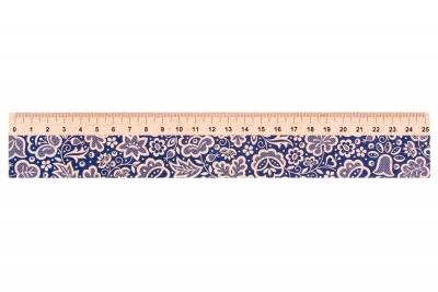 Linijka drewniana 25 cm kujawska niebieska FOLKSTAR