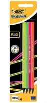 Ołówek BIC Evolution Fluo HB bez gumki 4 sztuki