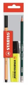 Zestaw cienkopis Point 88 + ołówek Othello HB + zakreślacz Boss żółty. Torebka (21)