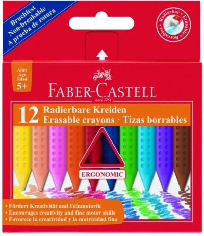 Kredki Grip trójkątne woskowe Faber-Castell, 12 kolorów (122520 FC)