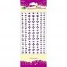 Kryształki samoprzylepne, 7 pasków - fiolet/biały (337885)