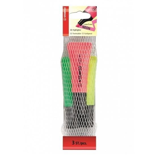 Zakreślacze Stabilo Neon, 3 kolory