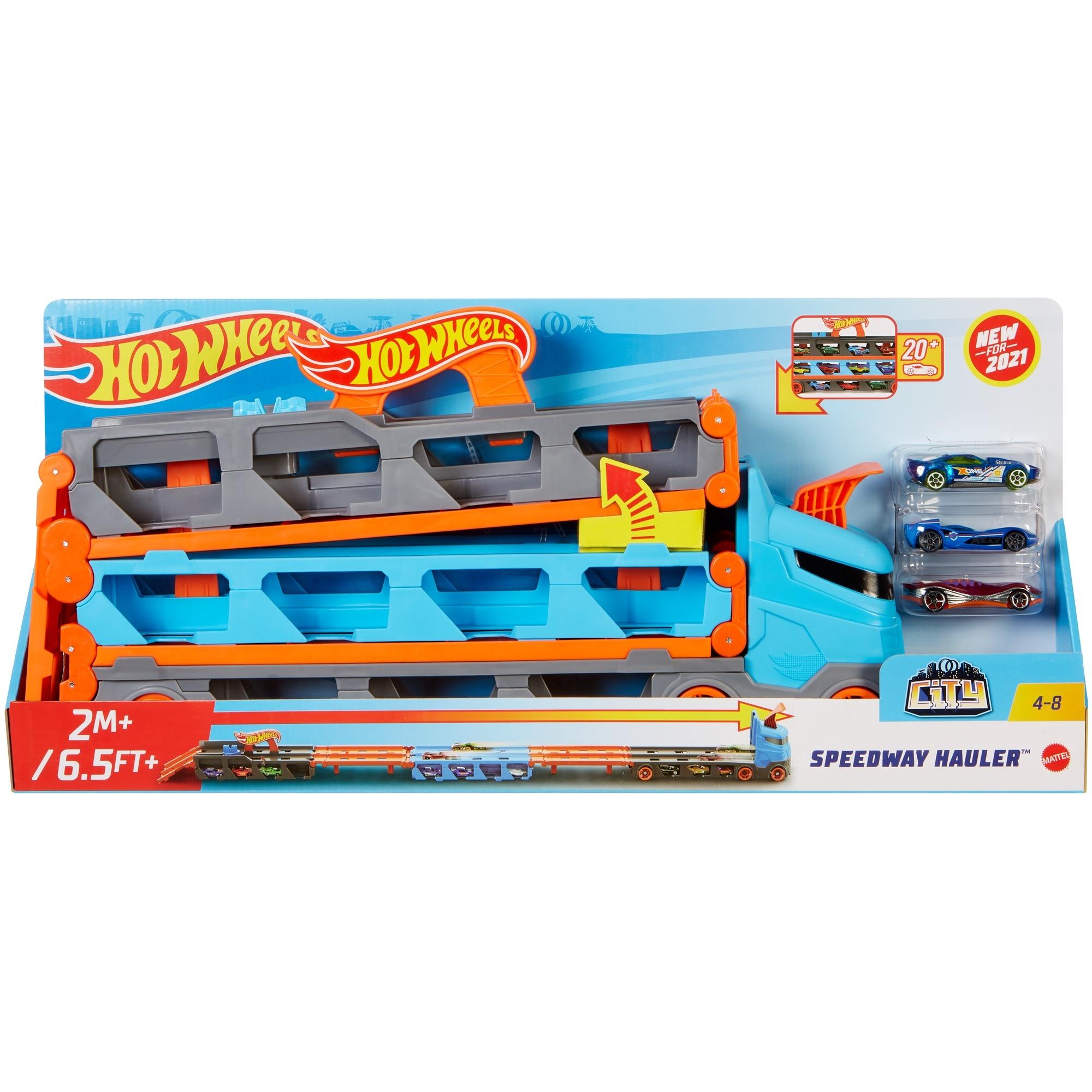 Hot Wheels: City - Wyścigowy transporter 2w1 (GVG37)