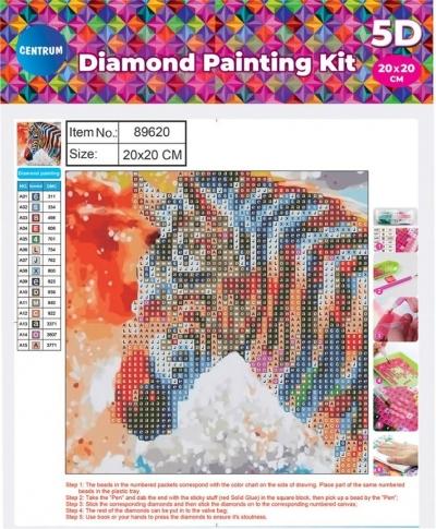 Mozaika diamentowa 5D 20x20cm Zebra 89620