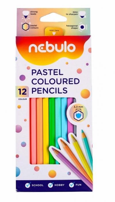 Kredki ołówkowe pastelowe 12 kolorów NEBULO