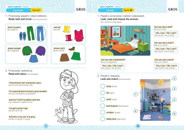 Język angielski. Karty pracy w szkole i w domu - klasa 2 Zespół redakcyjny Wydawnictwa GREG
