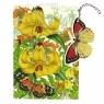 Karnet B6 i zawieszka z kopertą - Żółty motyl