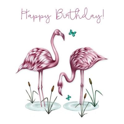 Karnet Swarovski kwadrat CL0302 Urodziny flamingi