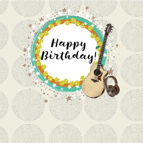 Karnet Swarovski kwadrat Urodziny gitara