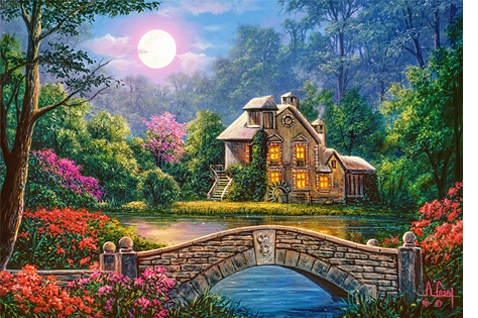 Puzzle 1000: Cottage in the Moon Garden (C-104208)