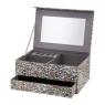 Pudełko tekturowe, szkatułka na biżuterię z lusterkiem 20x14x8cm Piórka Domotti