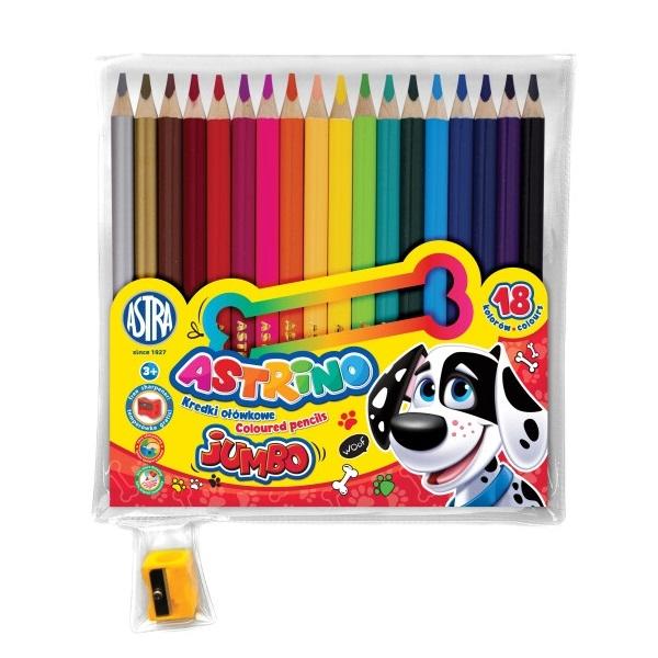 Kredki ołówkowe Astrino Jumbo, 18 kolorów + temperówka (312221003)