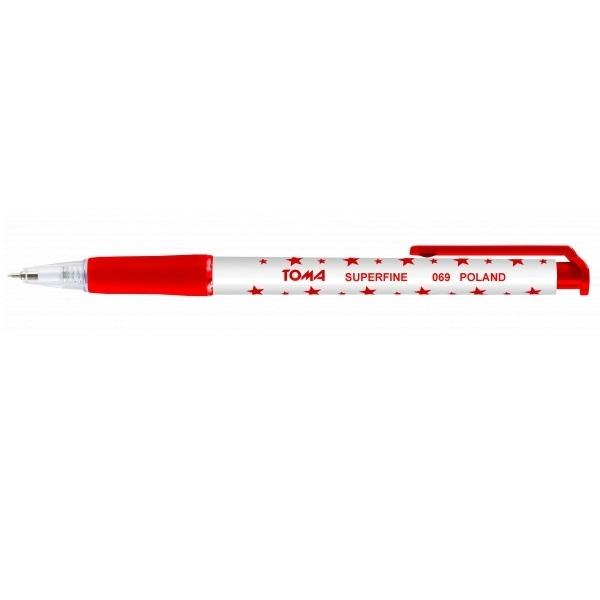 Długopis automatyczny w gwiazdki Superfine - czerwony (TO-069 22)