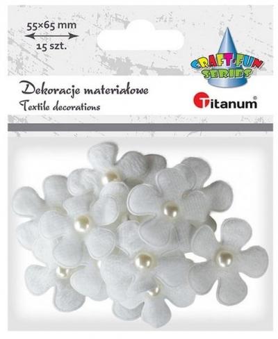 Ozdoba materiałowa Kwiaty 3D z perełką 15szt