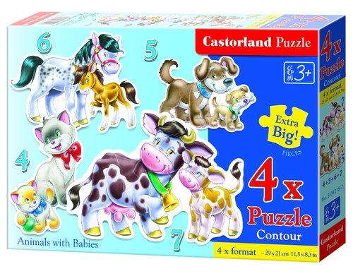 Puzzle konturowe 4w1 Animals with Babies (04218)