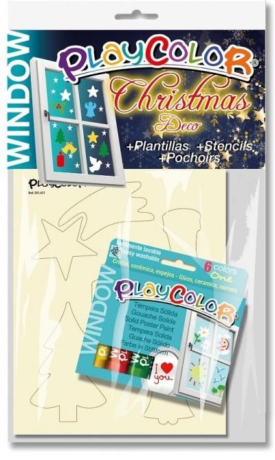 Farby do szyb 6 kolorów + 2 szablony Christmas