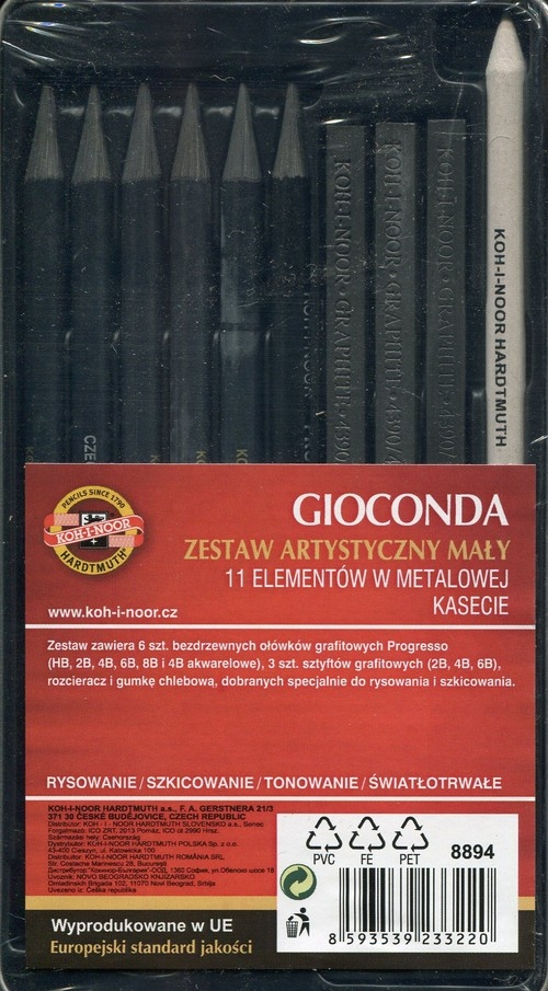 Zestaw artystyczny mały Gioconda 11 elementów w metalowej kasecie