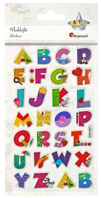 Naklejki wypukłe alfabet 28szt