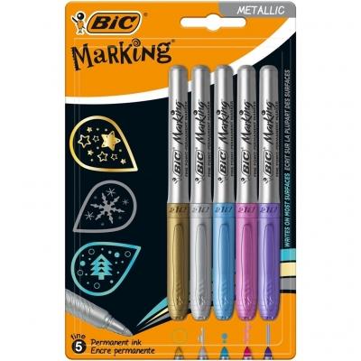 Marker Marking Metallic Ink 5 kolorów BIC