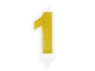 Świeczka urodzinowa Partydeco cyferka 1 złoty brokat 7cm (SCU3-1-019B)