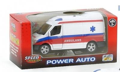 Ambulans ze światłem - metalowe, 11,5cm długości.