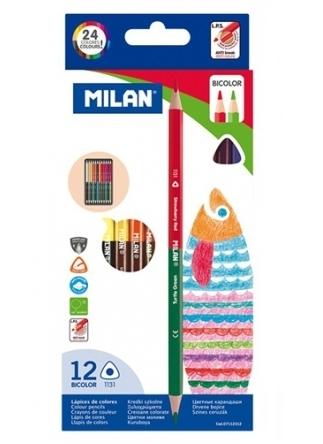 Kredki ołówkowe Milan BICOLOR 1131 trójkątne 24 kolory w kartonowym opakowaniu (07112312)
