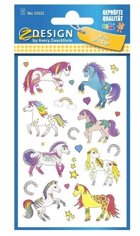 Naklejki dla dzieci - błyszczące konie (53222)