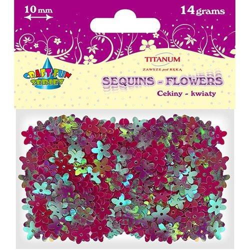 Cekiny Kwiaty 10mm, 14g - czerwone (268293)