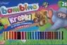 Kredki Bambino drewniane 26 kolorów + temperówka w opakowaniu metalowym