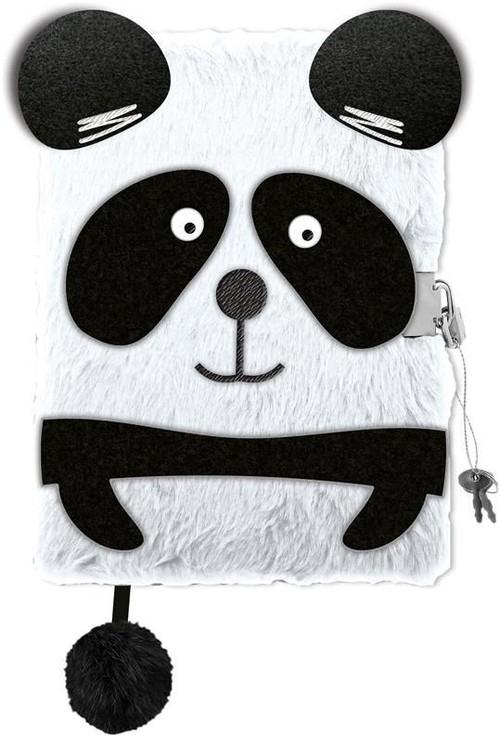 Pamiętnik z kłódką włochacz A5, 96 kartek Panda