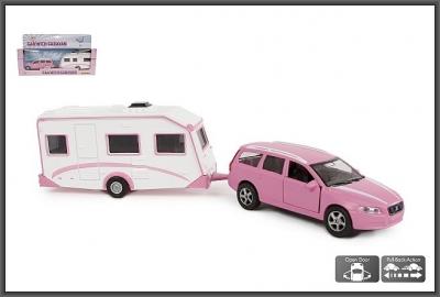 Samochód Hipo metalowe VOLVO z napędem i otwieranymi drzwiami + przyczepa camping (520194)