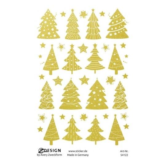 Naklejki bożonarodzeniowe Z Design - złote choinki i gwiazdki (54122)